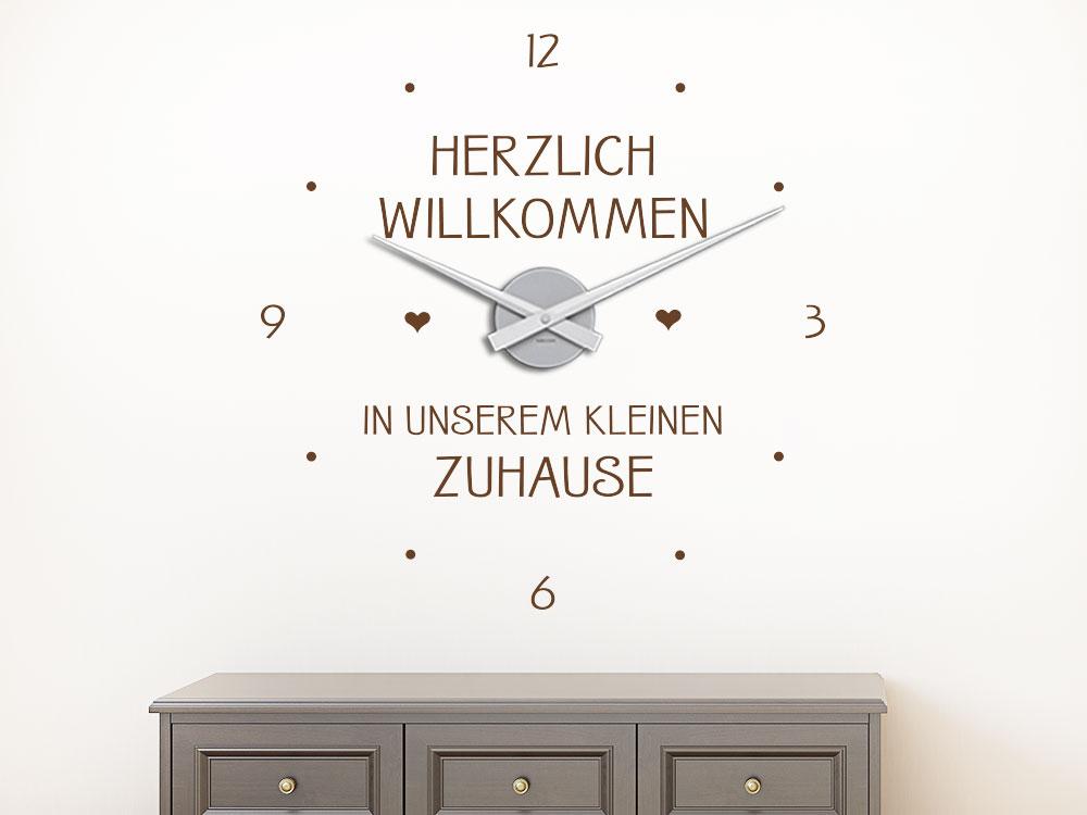 Wandtattoo Spruch Uhr Herzlich willkommen in unseren kleinen Zuhause mit kleinen Herzen