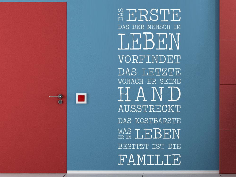 Wandtattoo Wandbanner Das Erste das der Mensch im Leben vorfindet neben Tür