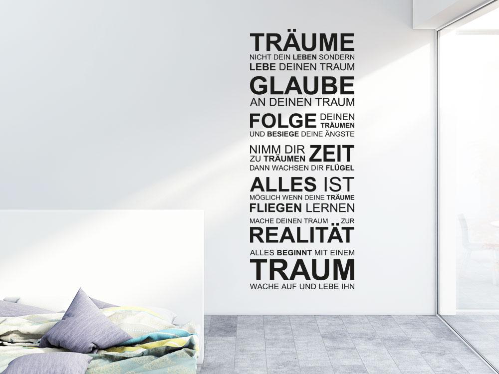 Wandtattoo Banner Träume nicht dein Leben… im Schlafzimmer