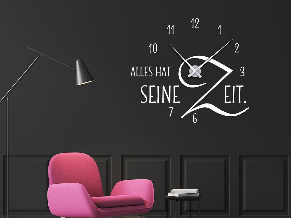 Wanduhr Wandtattoo Uhr Alles hat seine Zeit mit Uhrwerk