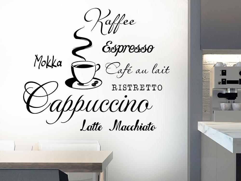 Wandtattoo Kaffee in der Küche neben Kaffeevollautomat
