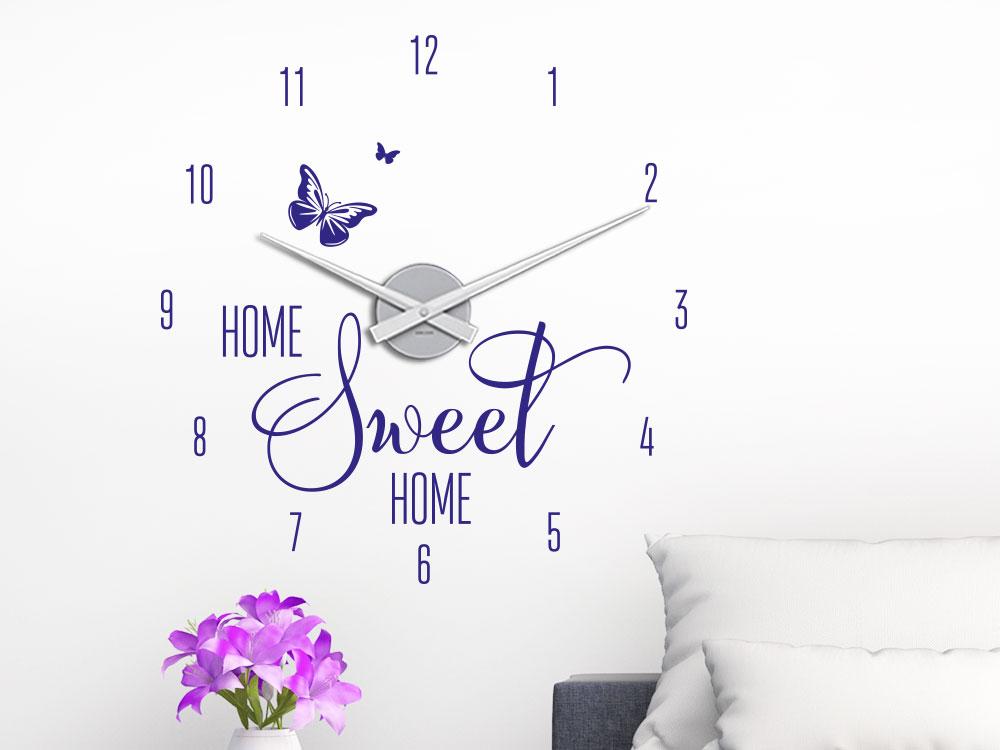 Wandtattoo Uhr Home Sweet Home Spruch im Wohnzimmer