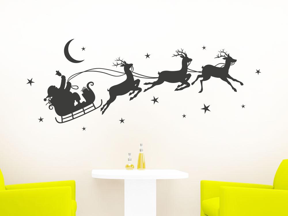 Wandtattoo Weihnachtsschlitten