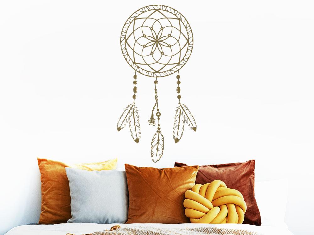 Wandtattoo Ornament Traumfänger über Bett im Schlafzimmer