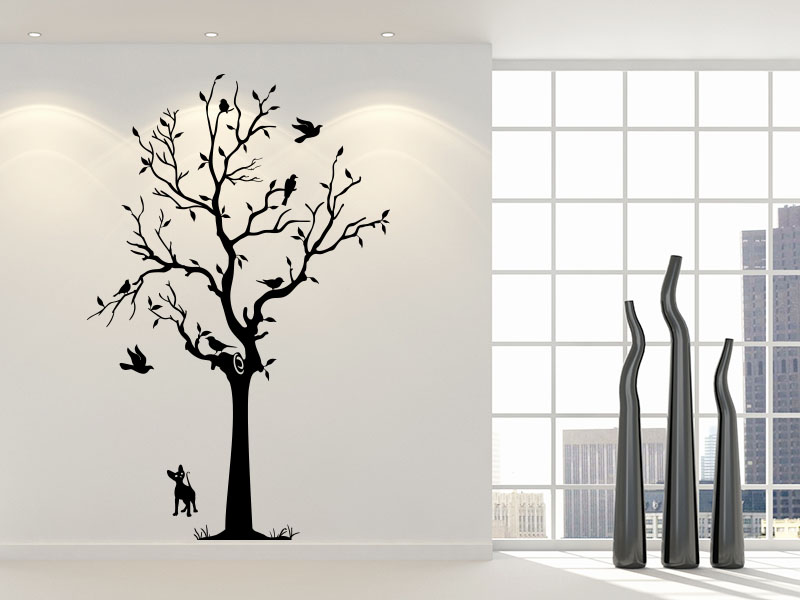 wandtattoo lebhafter baum. Black Bedroom Furniture Sets. Home Design Ideas