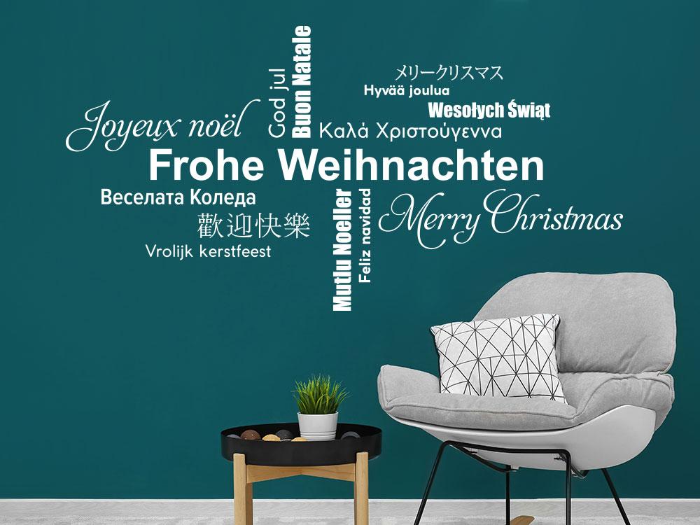 Wandtattoo Wortwolke Frohe Weihnachten