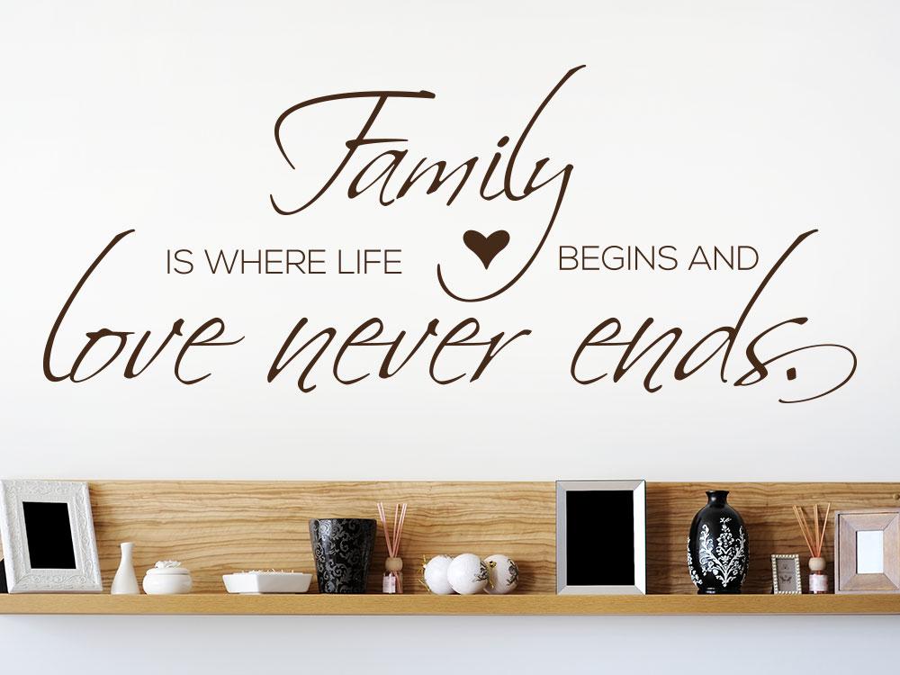 Wandtattoo Love never ends auf heller Wohnzimmerwand