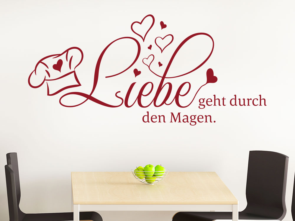 wandtattoo spruch liebe geht durch den magen. Black Bedroom Furniture Sets. Home Design Ideas