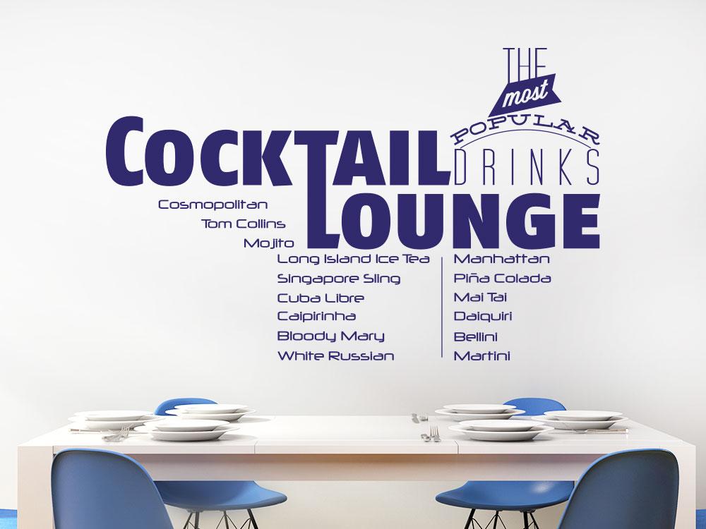 Wandtattoo Cocktail Lounge auf heller Wand im Esszimmer