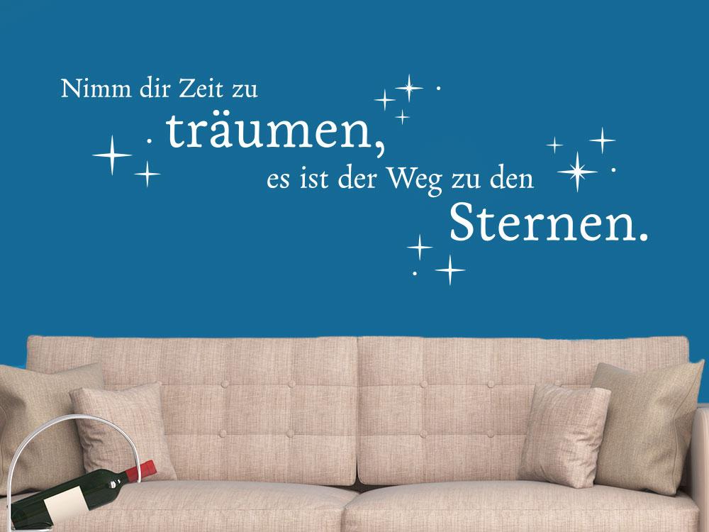 Wandtattoo Nimm dir Zeit zu träumen mit Sternen auf blauer Wand