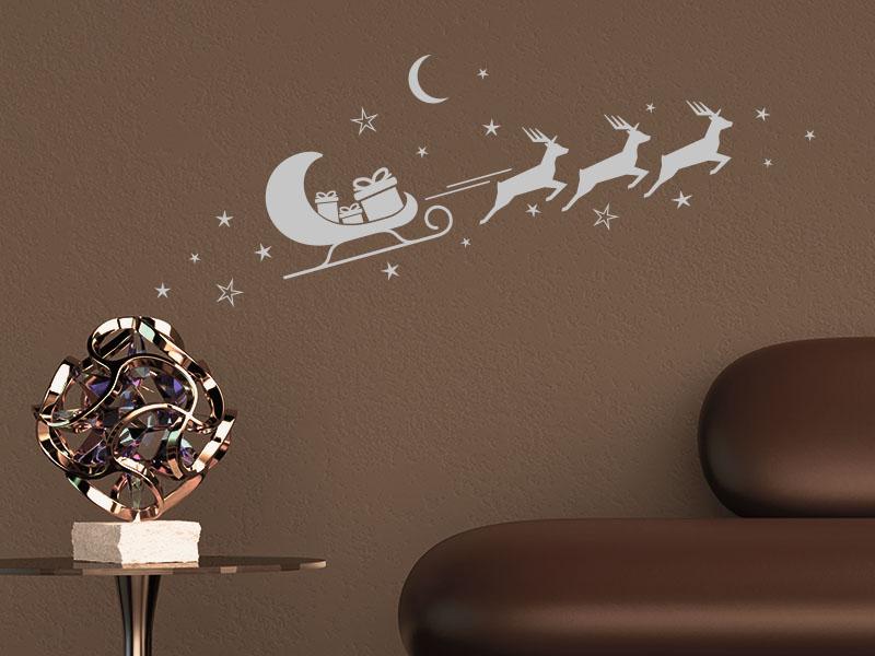 Wandtattoo Weihnachtsschlitten  mit Rentieren