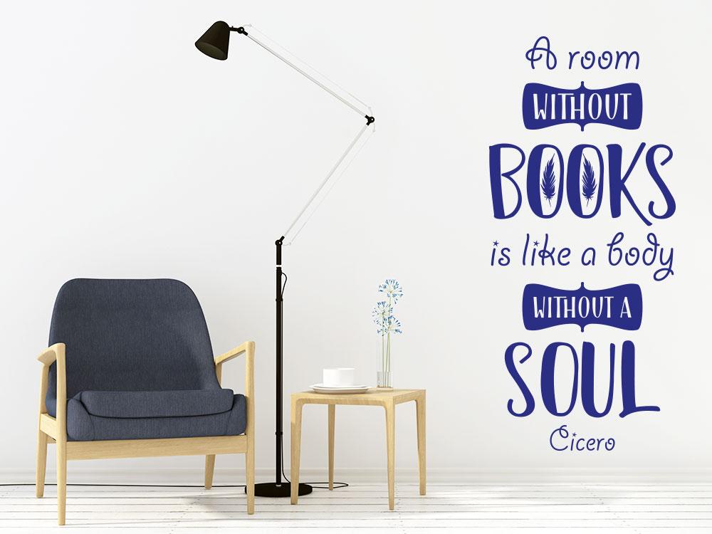 Wandtattoo A room without books auf heller Wohnzimmerwand