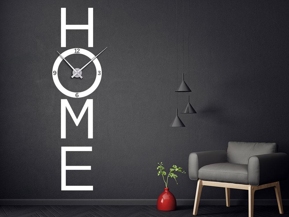 Senkrechte Wandtattoo Uhr Home in der Farbe Weiß