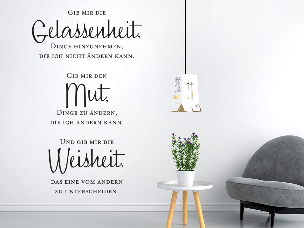 Wandtattoo Gib mir die Gelassenheit - Mut - Weisheit Spruch im Wohnzimmer
