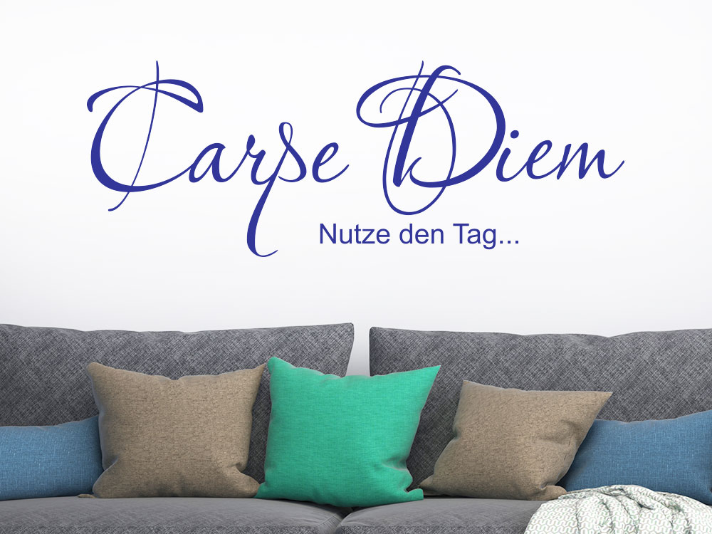 Wandtattoo Carpe Diem No.02 Spruch in blau