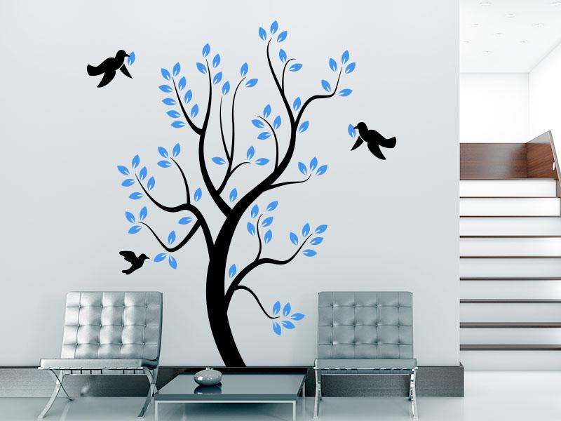 Wandtattoo  Baum mit Vögel im Flur