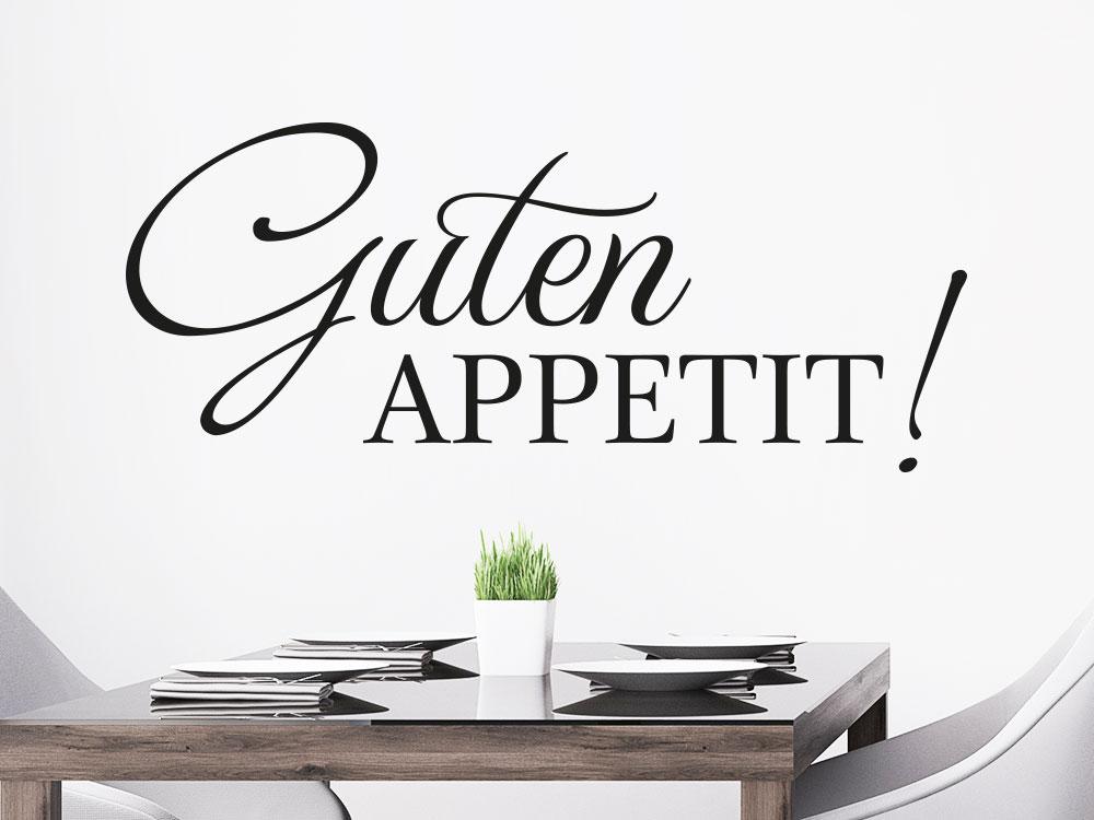 Wandtattoo Modernes Guten Appetit auf heller Wand über Esstisch