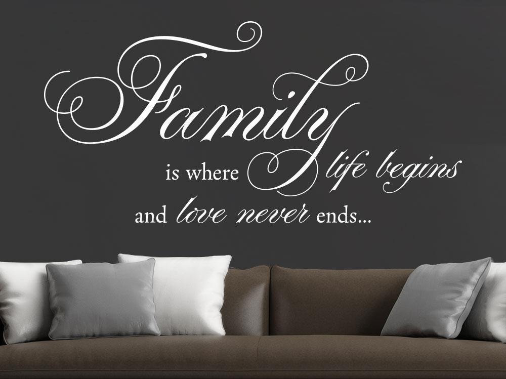 Wandtattoo Family is where life begins im Wohnzimmer über Ledersofa