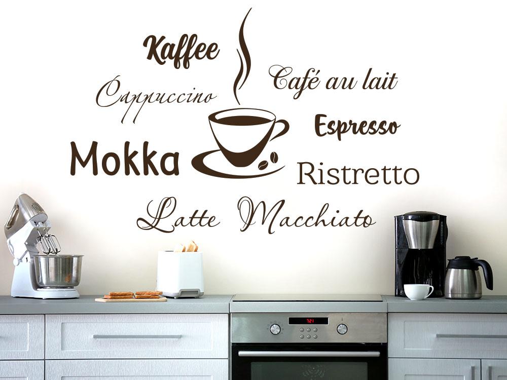 Wandtattoo Kaffee mit Tasse in der Küche
