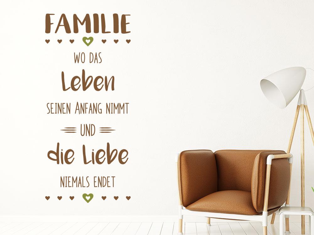 Wandtattoo Spruch Familie Leben Liebe