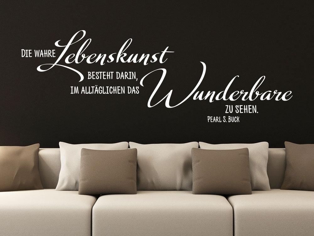 Wandtattoo Die wahre Lebenskunst in Weiß über Sofa