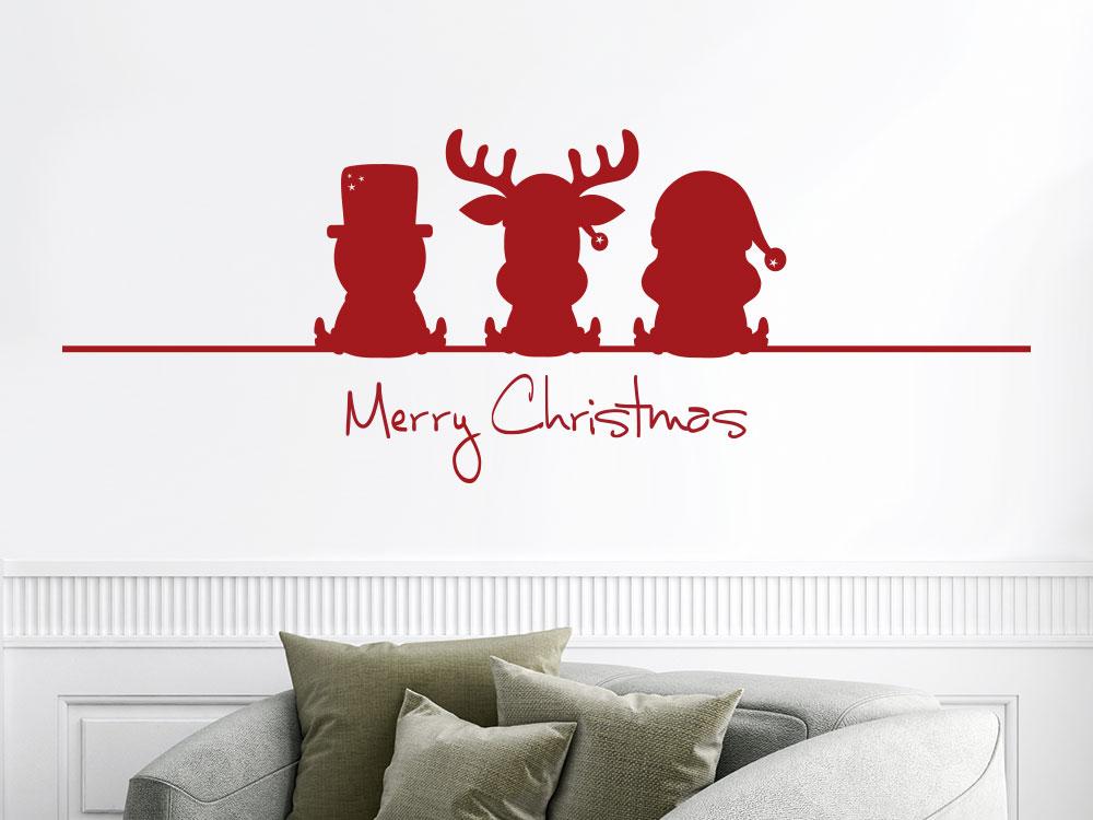 Wandtattoo Lustiger Elch Weihnachtsmann Schneemann