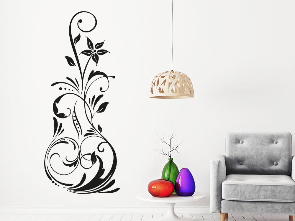 Wandtattoo Malerisches Ornament in der Farbe Schwarz im Wohnbereich