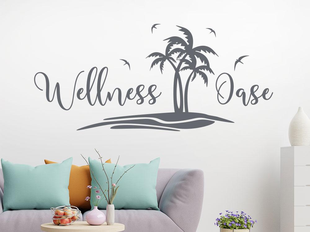 Dekoratives Wellness Oase Wandtattoo mit Palmenstrand und Schwalben