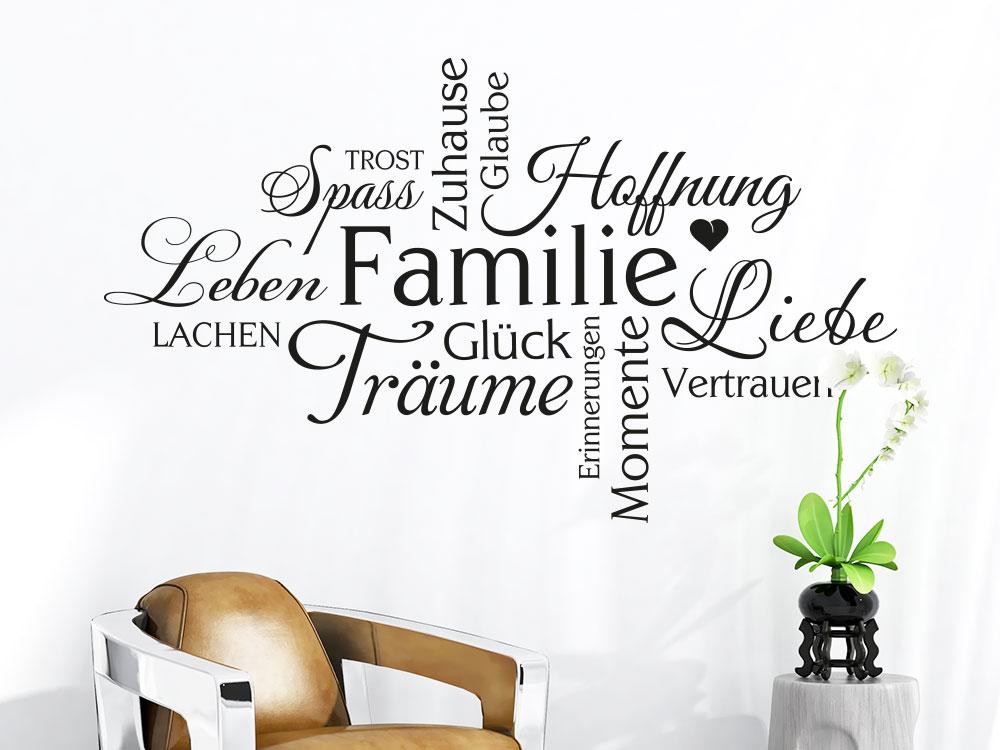 Wandtattoo Familie Wortwolke im Flur