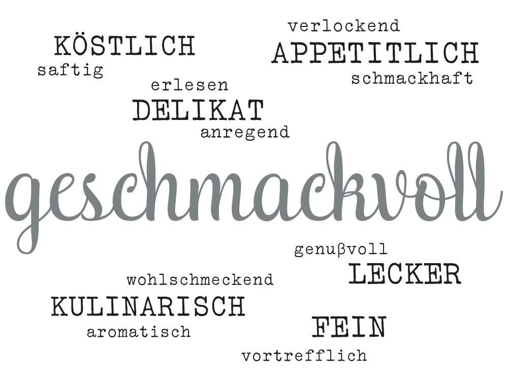 Wandtattoo Wortwolke geschmackvoll - Einzelansicht des Wandtattoos