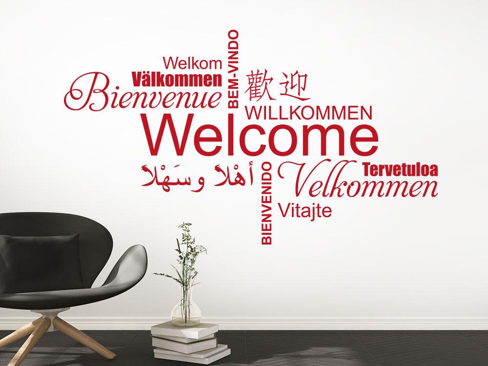 Wandtattoo Welcome Multikulturell Wortwolke in Rot