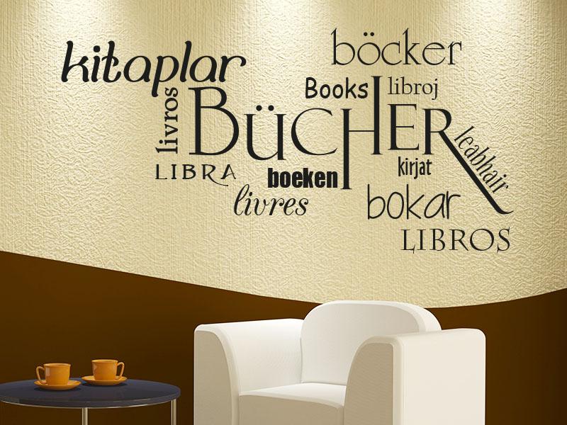 Wandtattoo Bücher in verschiedenen Sprachen