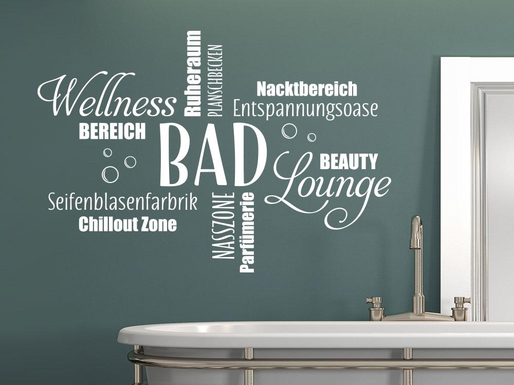 Wandtattoo Badezimmer Wortwolke über Wanne