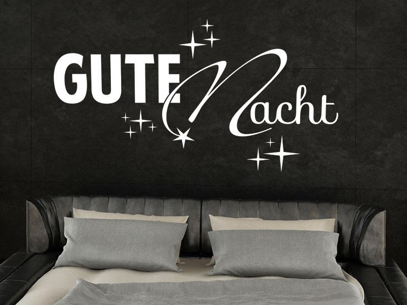 wandtattoo gute nacht mit sternen von klebeheld. Black Bedroom Furniture Sets. Home Design Ideas