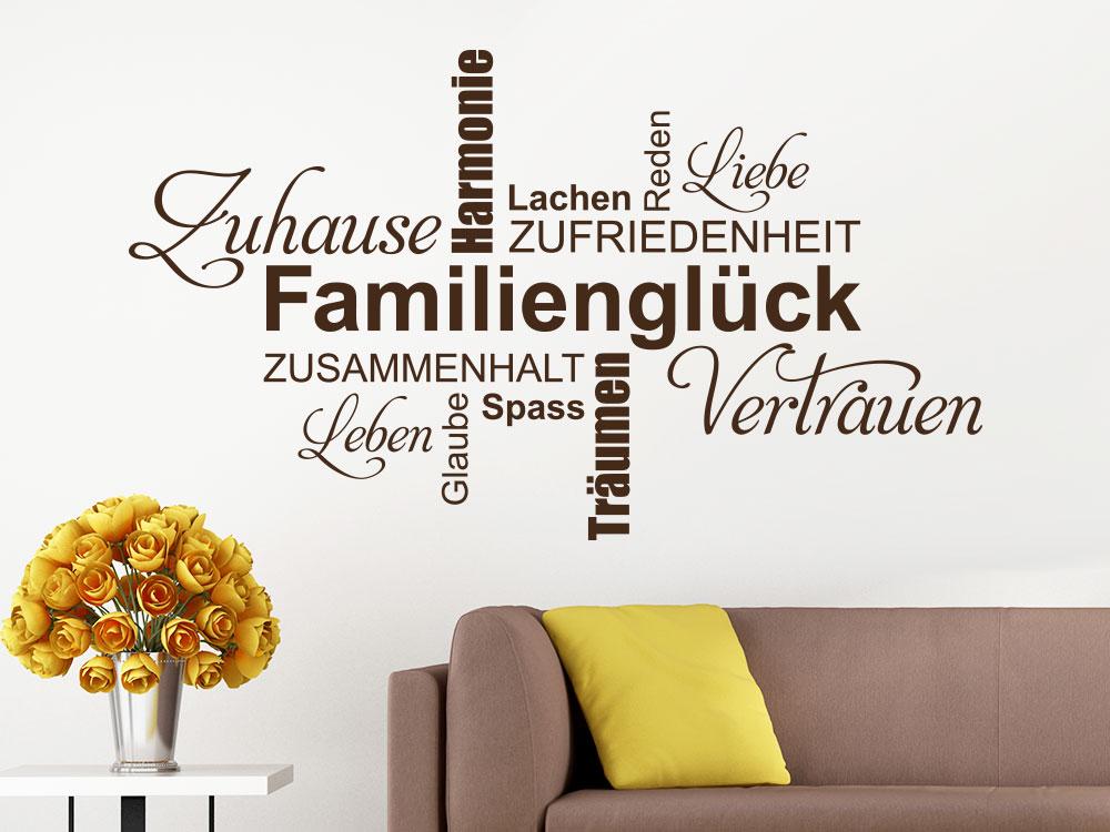 Wandtattoo Familienglück Wortwolke auf heller Wandfläche