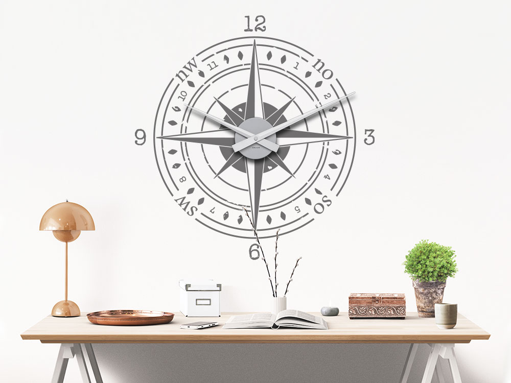 Wandtattoo Kompass Uhr über Schreibtisch