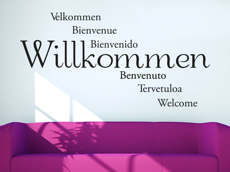 Willkommen Wandtattoo mehrsprachig