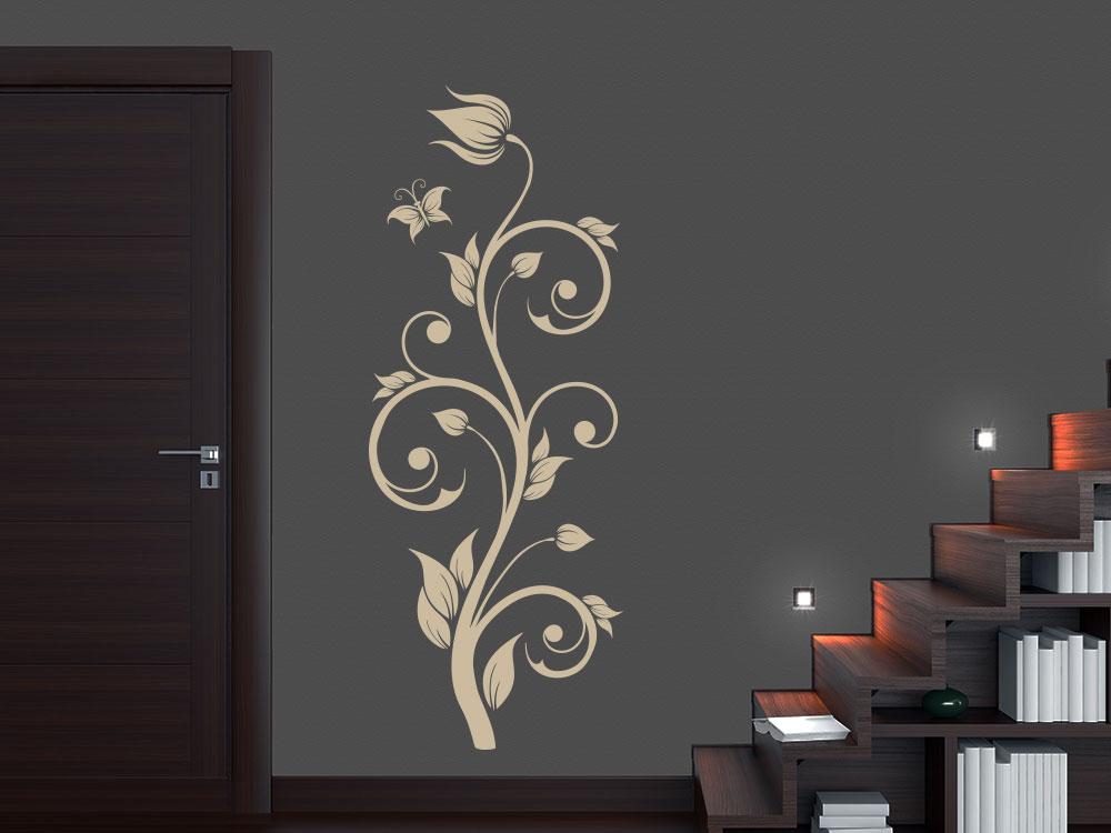 Wandtattoo Dekorative Blütenranke in der Farbe Beige