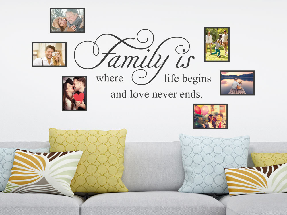 Wandtattoo Family is Fotorahmen where life begins