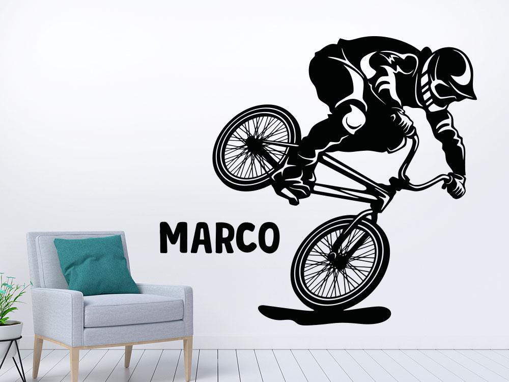 BMX Rad Wandattoo mit Name in der Farbe schwarz