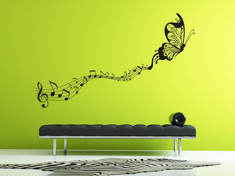Wandtattoo Schmetterling Mit Notenschlüssel