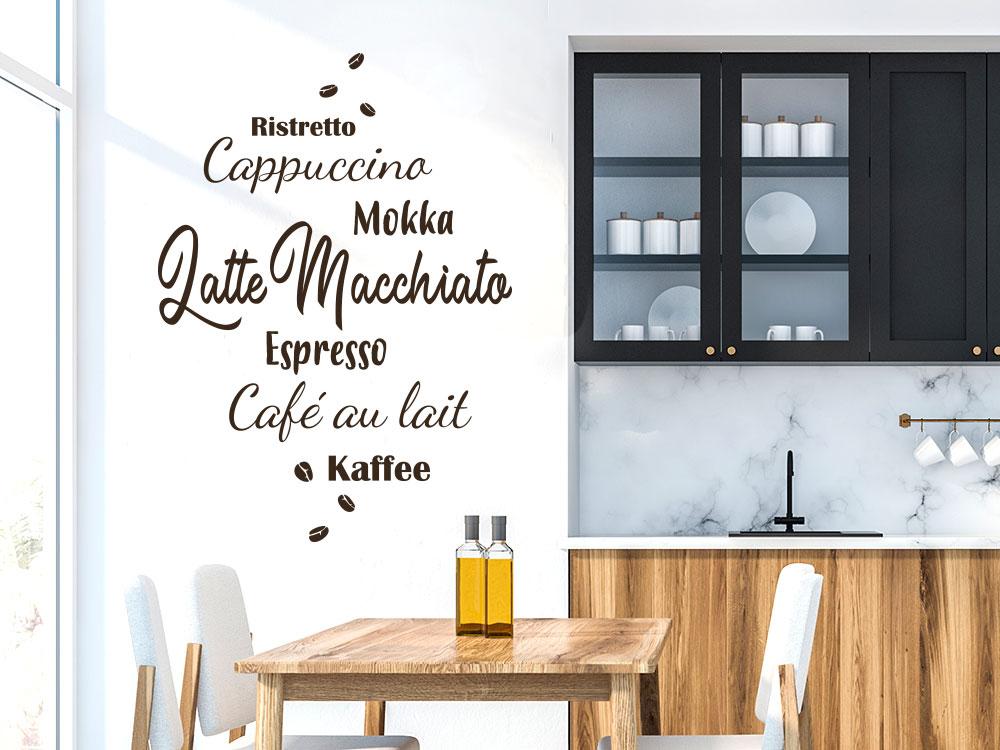 Wandtattoo Kaffee Spezialitäten