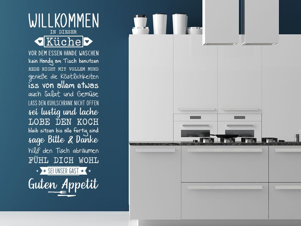Wandtattoo Willkommen In dieser Küche