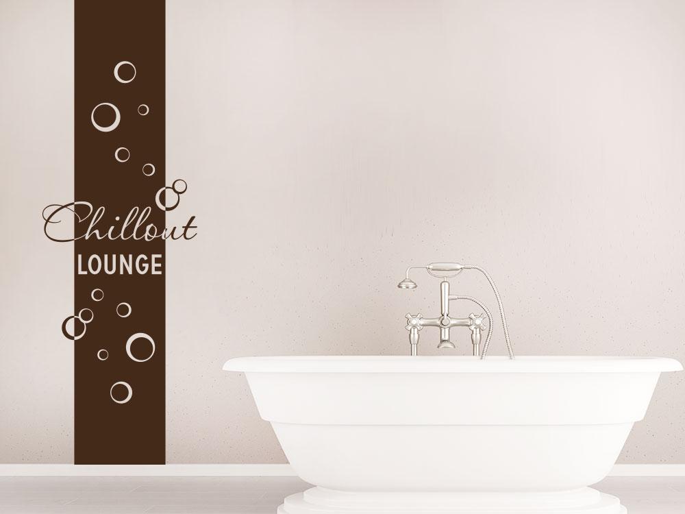 Wandtattoo Chillout Lounge Banner mit Bubbles im Badezimmer