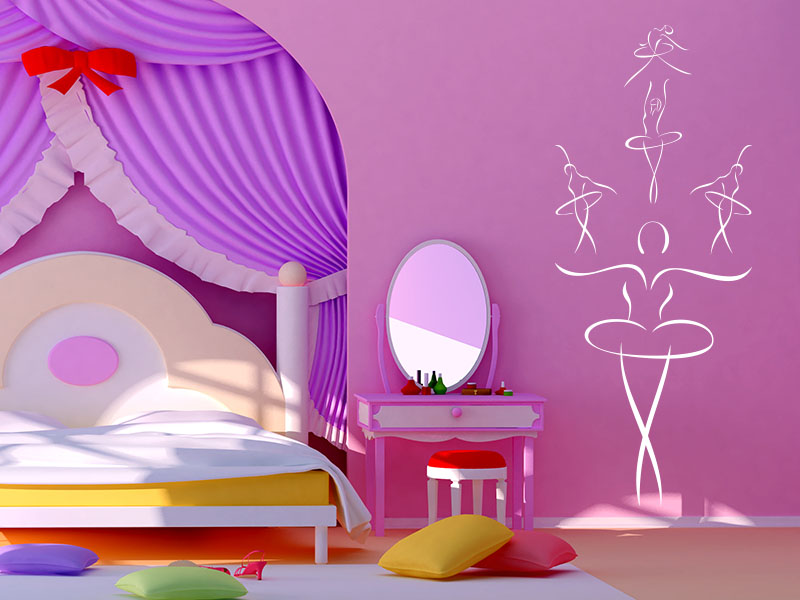 wandtattoos kinderzimmer sch ne ballerinas wandtattoo. Black Bedroom Furniture Sets. Home Design Ideas