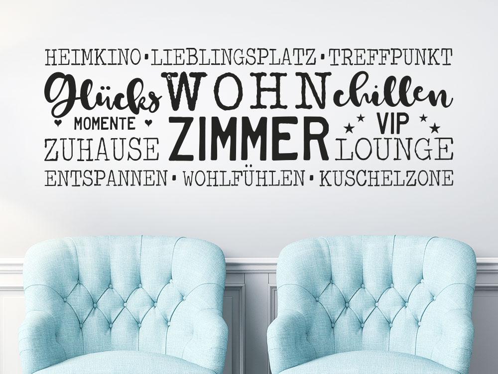 Wandtattoo Wortwolke Wohnzimmer Worte helle Wand Wohnbereich