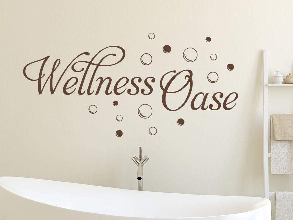 Wandtattoo Wellness Oase über Badewanne mit Kreisen