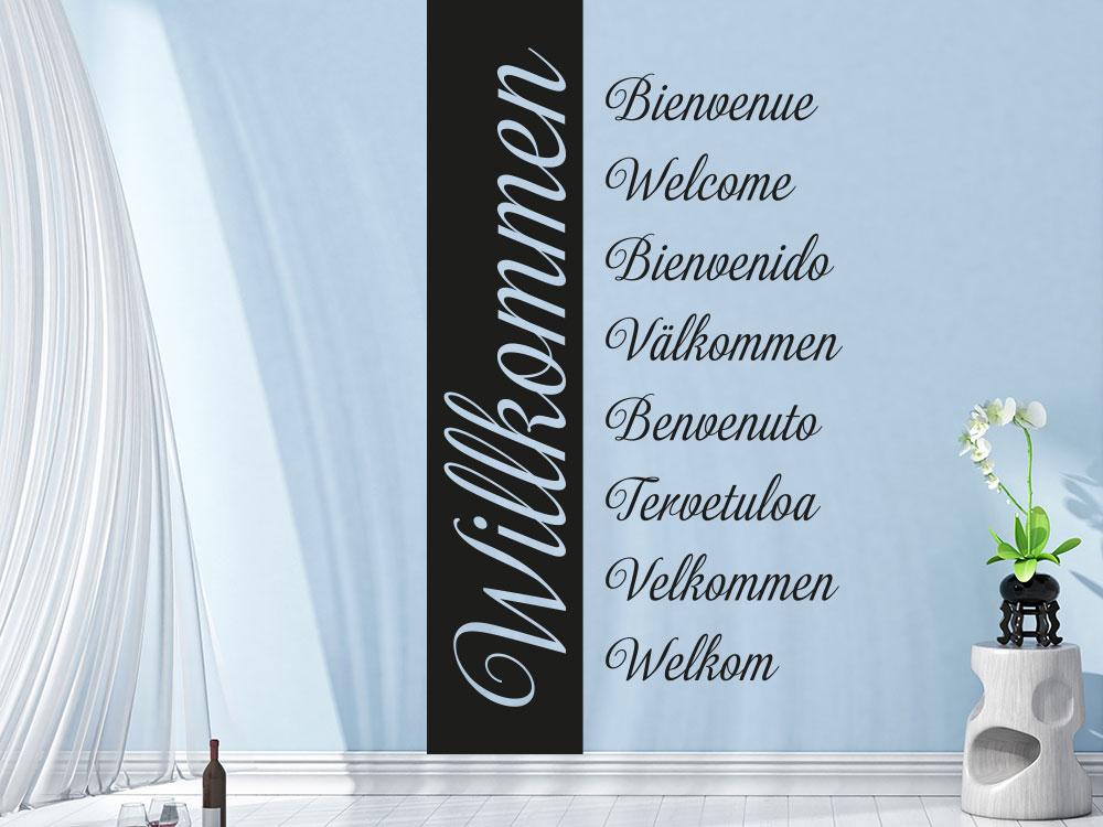 Wandtattoo Wandbanner Willkommen verschiedene Sprachen im Flur
