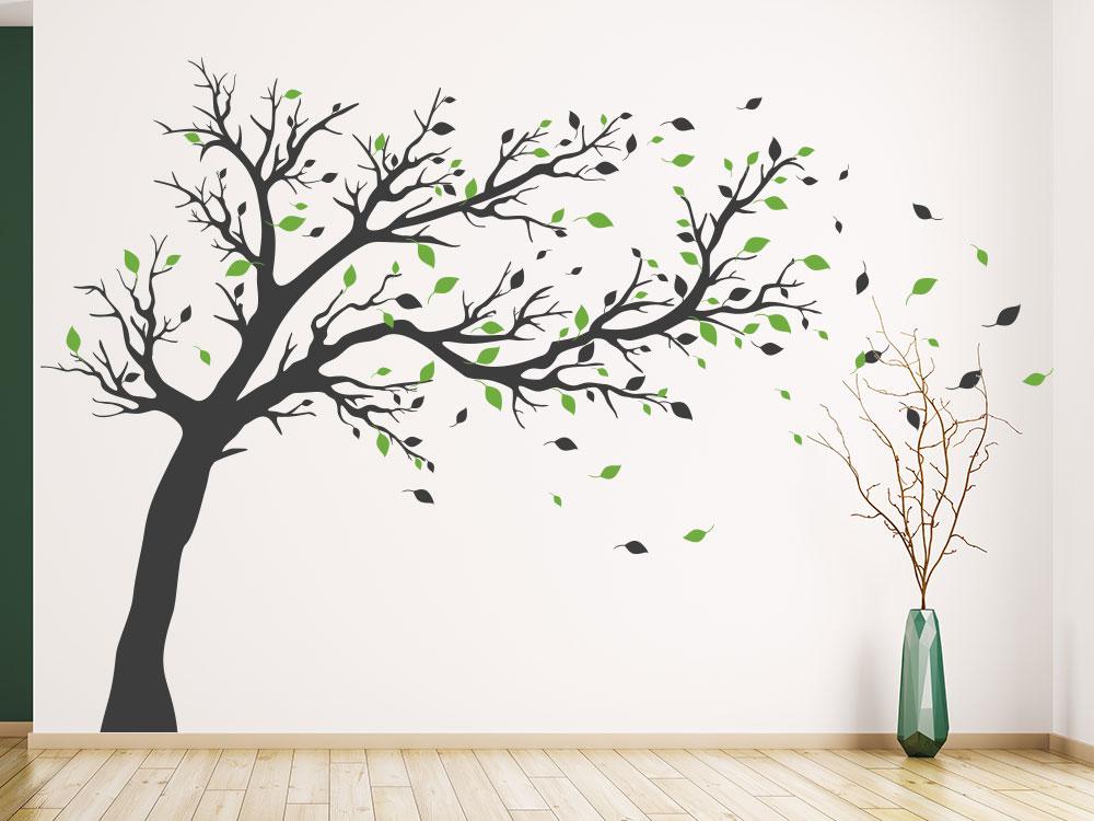 Gestaltungsidee großer Wandtattoo Baum mehrfarbig im Hauseingang
