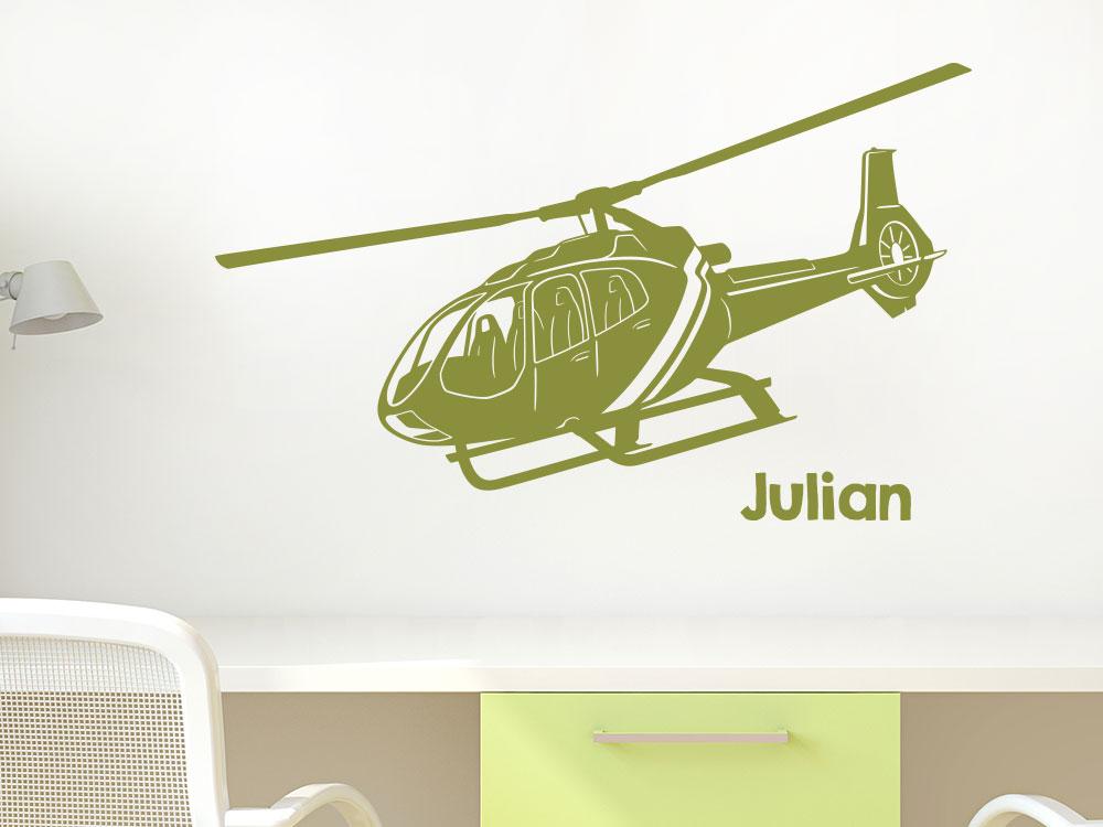 Hubschrauber Wandtattoo mit Name im Kinderzimmer